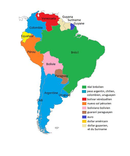 Carte d'Amérique du Sud et Monnaies