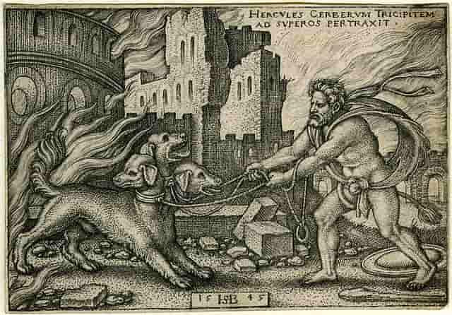 """""""La capture de Cerbère par Héraclès"""", par Hans Sebald Beham, 1545."""