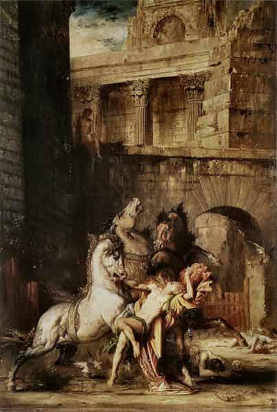 Gustave_Moreau_Diomède_dévoré_par_ses_chevaux_Hercule_juments