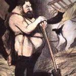 Hercule devant la tâche à accomplir aux écuries d'Augias, croqué par Honoré Daumier en 1852 dans le Charivari.