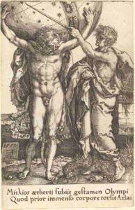 """Hercules et Atlas"", par Heinrich Aldegrever, 1550."