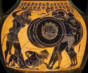 Hercule combattant Géryon, vase attique aux figures noires, 480-460 avant J.-C.