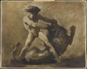 Hercule terrassant le Lion de Némée, par Nicolas-François Chiffart, 19ème siècle.