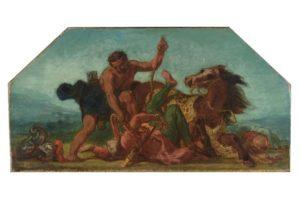 Hercule saisit la ceinture d'Hippolyte, peint par Eugène Delacroix en 1852.