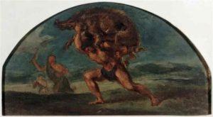 Hercule et le sanglier d'Erymanthe, peint par Eugène Delacroix, 1851-1854.