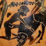 Hercule et le taureau crétois, vase attique à figures noires, 480-460 avant J.-C.