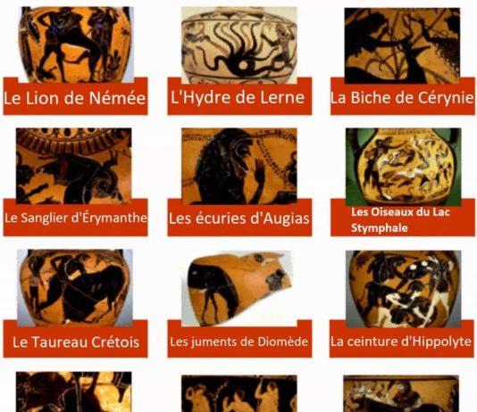 Illustration des 12 travaux d'Hercule.