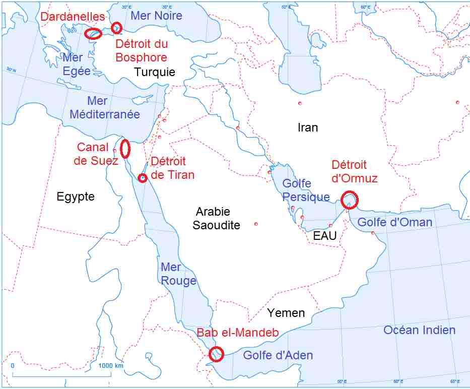 Carte Du Monde Orient.Les Detroits Et Canaux Au Moyen Orient