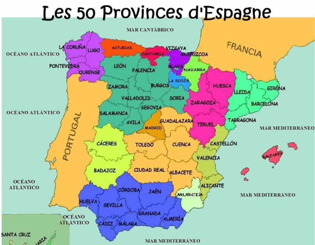 Carte des 50 provinces espagnoles.