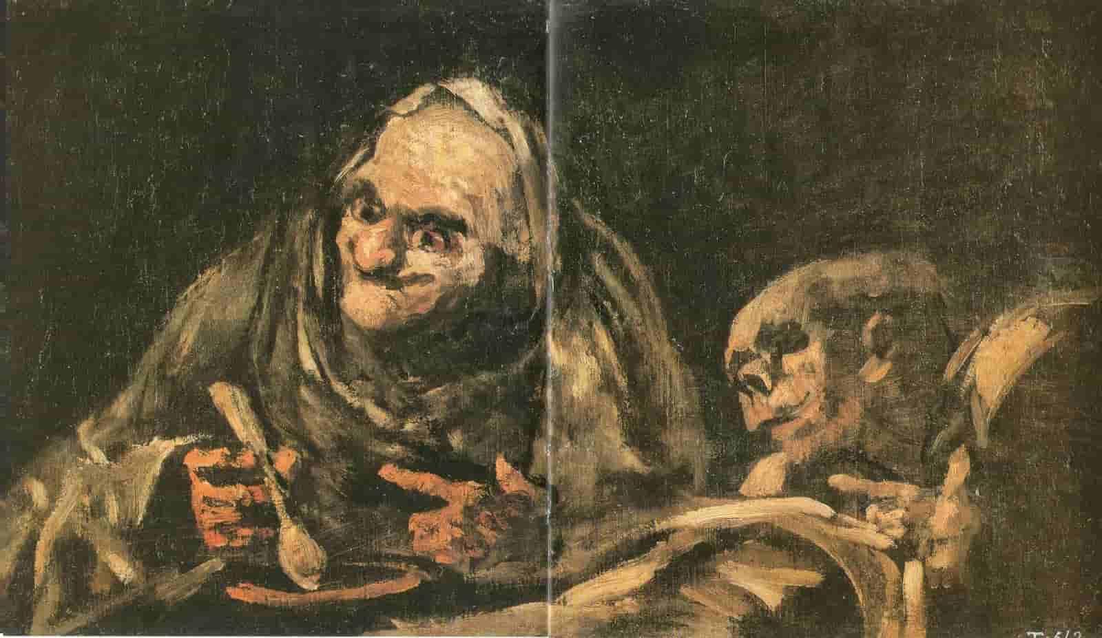 Francisco de Goya, Deux vieillards mangeant de la soupe, 1819