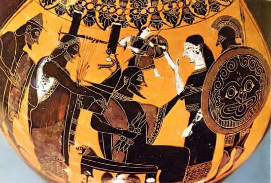 Naissance d'Athéna qui sort en armure et en armes de la tête de Zeus, pris de migraine.