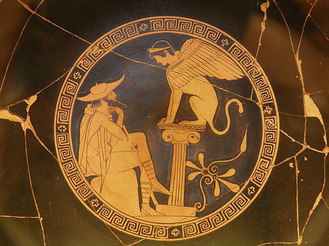 Enigme du Sphinx Thèbes Oedipe, qui marche à quatre trois deux pattes l'homme