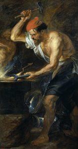 Héphaïstos en train de forger les éclairs (foudre) du tonnerre de Zeus. Peint par Rubens en 1636.
