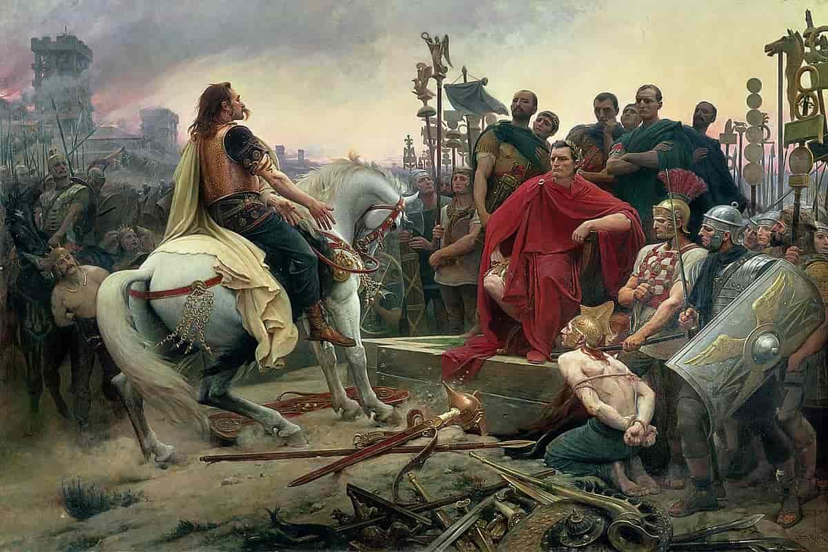 Tableau défaite Sigèe d'Alésia Vercingétorix se rend à César