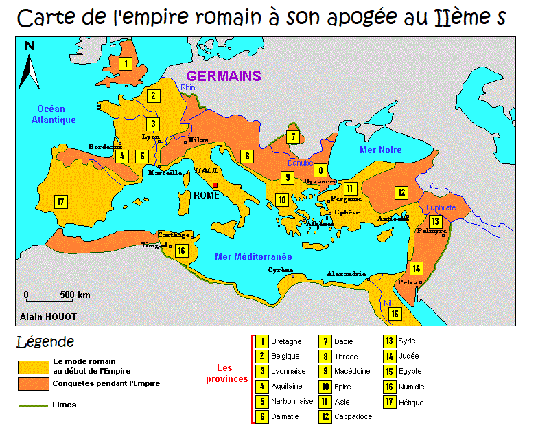 Carte de l'empire romain, peuples conquis, provinces, limes
