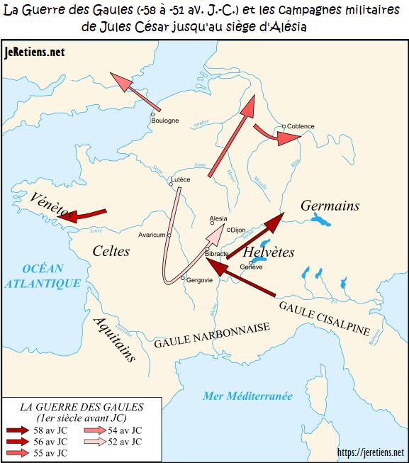 Carte de la Guerre des Gaules (de -58 à -51), les flèches indiquent les campagnes militaires menées par Jules César et son armée.