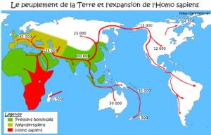Carte du peuplement de la terre par les hommes et hominidés: homo habilis, homo erectus, homme de Néandertal et homo sapiens