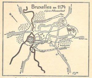 Plan de Bruxelles au Moyen-Âge, tracé des enceintes