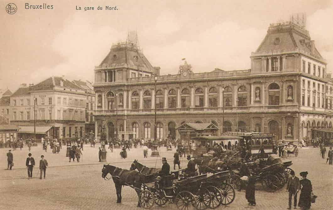 Carte postale représentant la Gare du Nord (Bruxelles-Nord), en 1910.