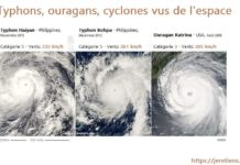 Ouragan, cyclone, typhon, photo satellite, vu du ciel, comparaison