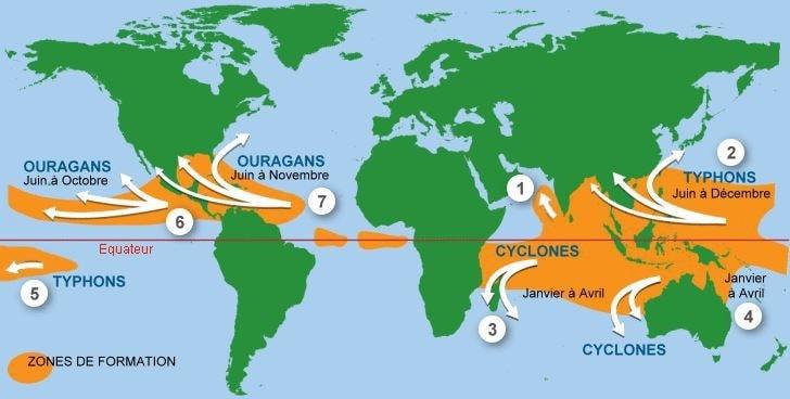 Zones formation cyclones noms des cyclones et ouragans typhons et périodes de l'année