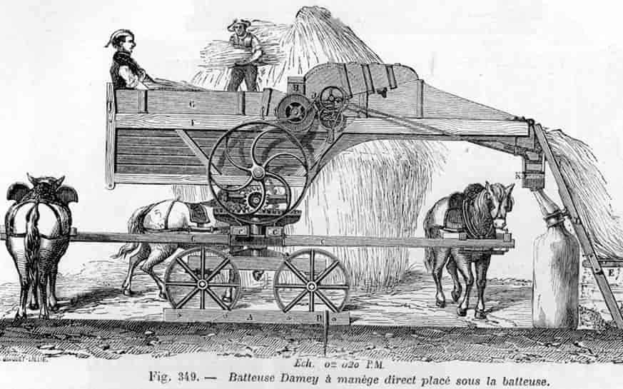 Mécanisation de l'agriculture: une batteuse Damey à manège.