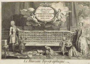 Gravure du Bureau typographique de Louis Dumas. Système pédagogique d'apprentissage de la lecture et de l'écriture au début du XVIIIème siècle. La gravure fait mention de 1732 en chiffres romain, la publication date de 1733.