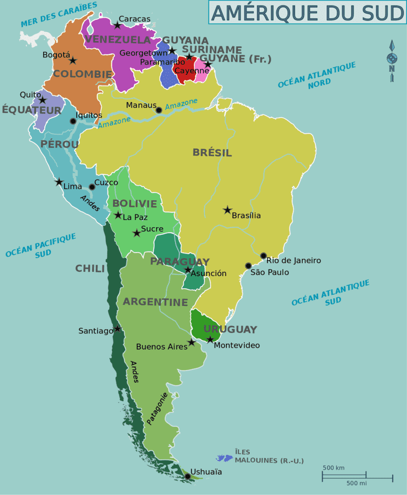 Carte Amerique Du Sud Francais.Difference Entre Amerique Du Sud Et Amerique Latine