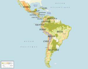 Carte des pays qui se trouvent en Amérique latine