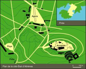 Carte Athènes grèce antique Pnyx Agora Acropole Pirée