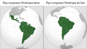 Carte géographie physique des différents pays composant l'Amérique latine et l'Amérique du Sud