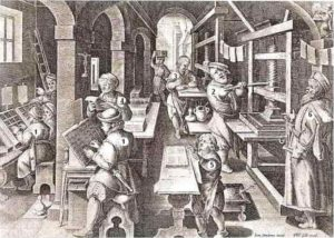 Rôles et fonctions des imprimeurs dans leur atelier à la renaissance, caractère mobile, presse