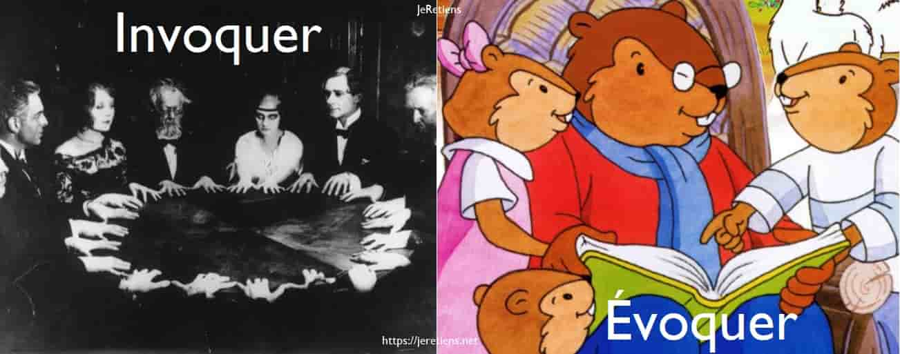 Différence entre à gauche une invocation (le fait d'invoquer des esprits); et à droite une évocation (le fait d'évoquer des souvenirs. Dans cet exemple, il s'agit du célèbre Père Castor qui évoque une histoire !)