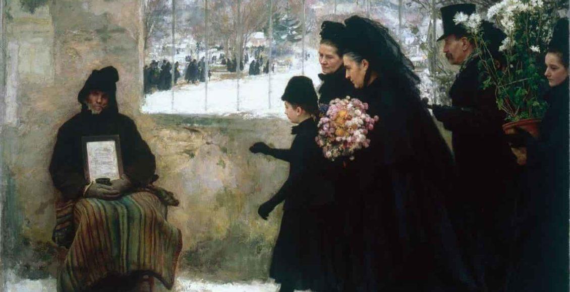 La_Toussaint_Emile_Friant_1888_tableau_tombe_fleurie_1er_novembre