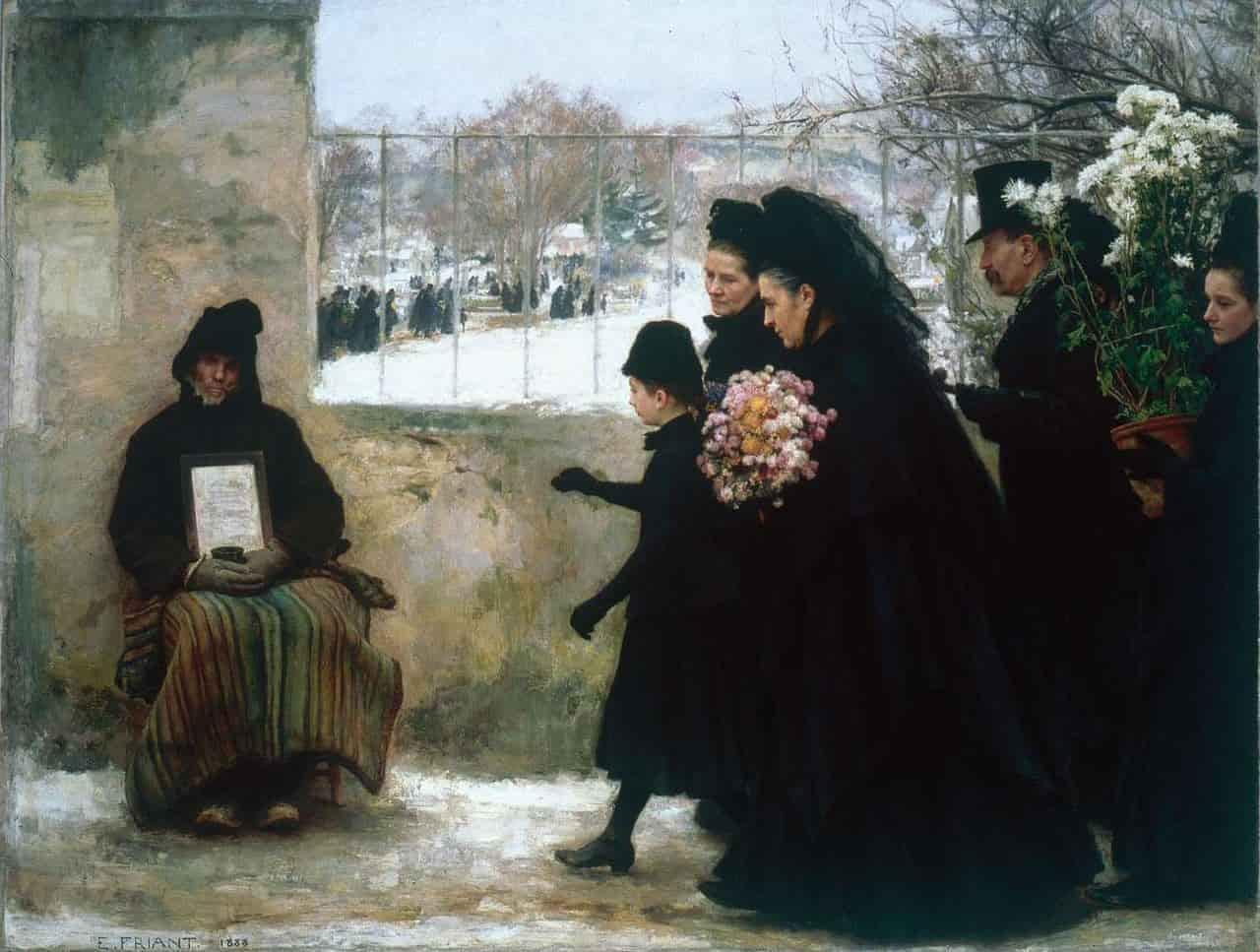 La Toussaint, peint par Émile Friant en 1888. Ce tableau de la fin du XIXème siècle nous renseigne sur les traditions lors de la Toussaint: aller fleurir de chrysanthèmes les tombes et allumer des chandelles.