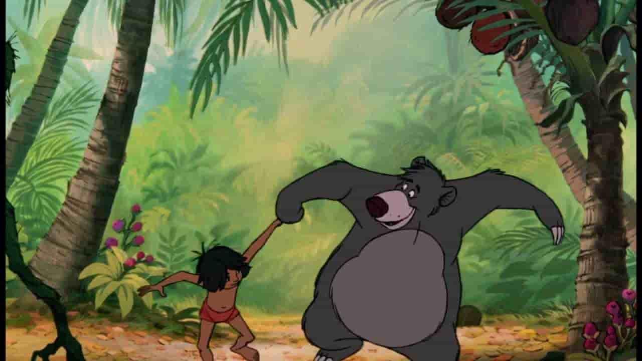 Le livre de la Jungle de Kipling adapté à l'écran. Il en faut peu pour être heureux vraiment très peu pour être heureux, chanté par Baloo !