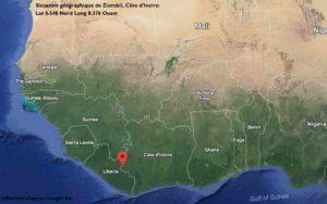 Situation géographique de Ziombli en Côte d'Ivoire. Vue par satellite.