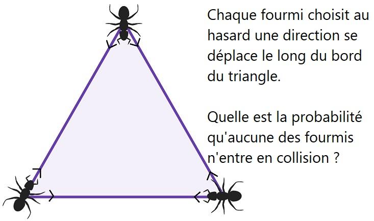 Trois fourmis dans un triangle équilatéral, l'énigme, sa solution et des indices !