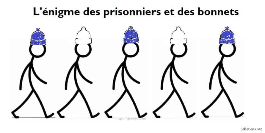 De quelle couleur est le bonnet du premier prisonnier ?