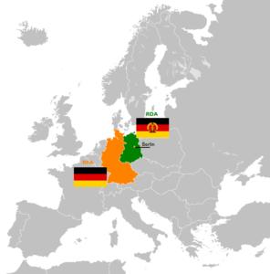 Carte politique de l'Europe indiquant l'Allemagne de l'Ouest (RFA) en orange, avec son drapeau, et l'Allemagne de l'Est (RDA) en vert, avec son drapeau.