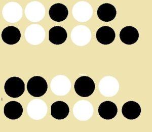 Au dessus, les 5 jetons pris au hasard parmi les 11 jetons; en dessous le résultat obtenu en retournant les faces de ces 5 jetons: il y a le même nombre de jetons blancs dans le tas de 5 et dans le tas de 6 !