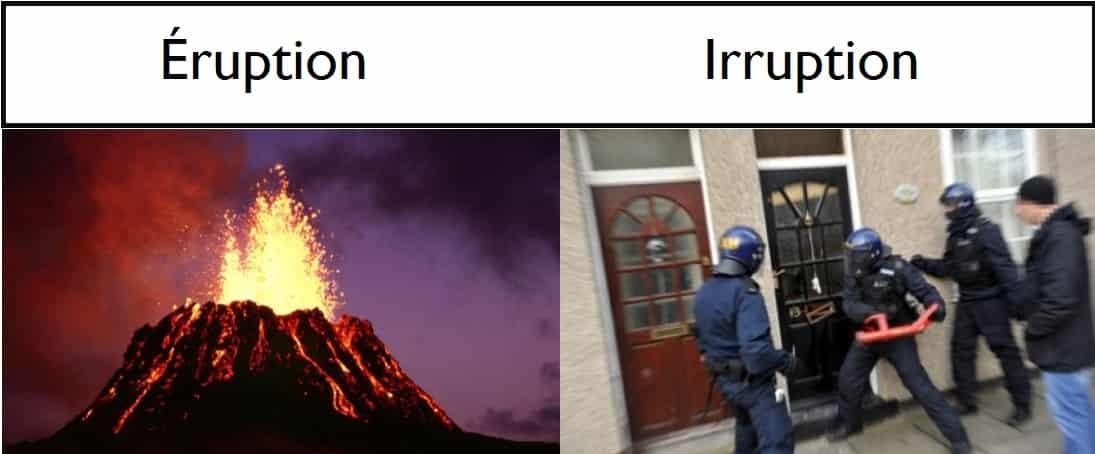 Différence, étymologie, définition et exemples pour les mots éruption et irruption.