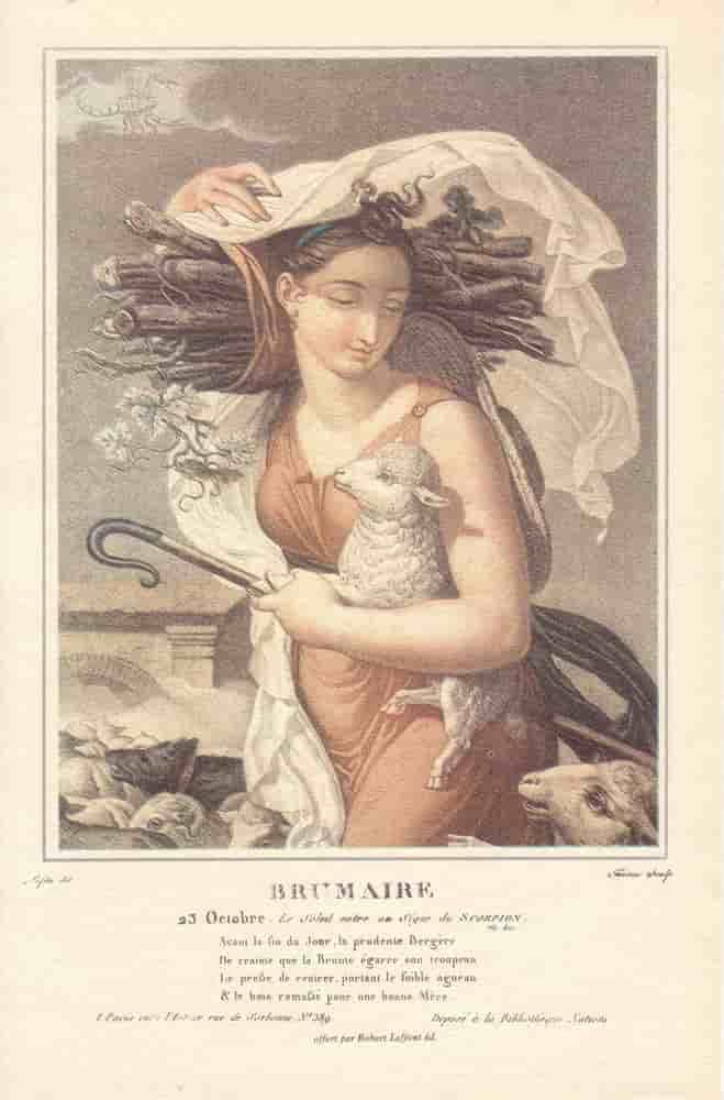 Brumaire, mois du calendrier républicain ou révolutionnaire. Gravure de Salvatore Tresca, dessin de Louis Lafitte, 1797-1798.