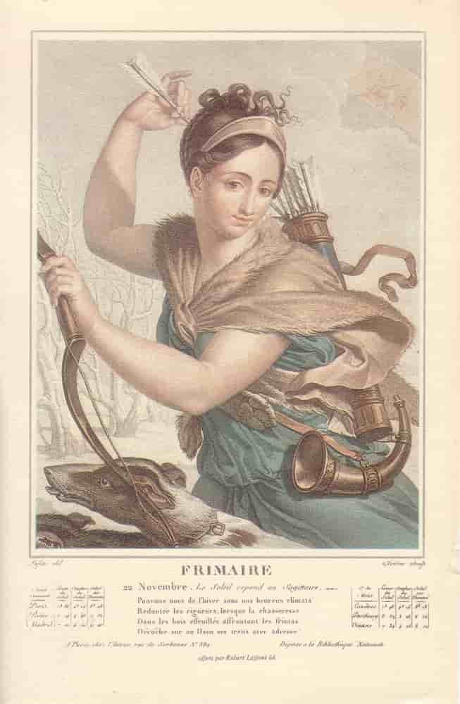 Frimaire, mois du calendrier républicain ou révolutionnaire. Gravure de Salvatore Tresca, dessin de Louis Lafitte, 1797-1798.