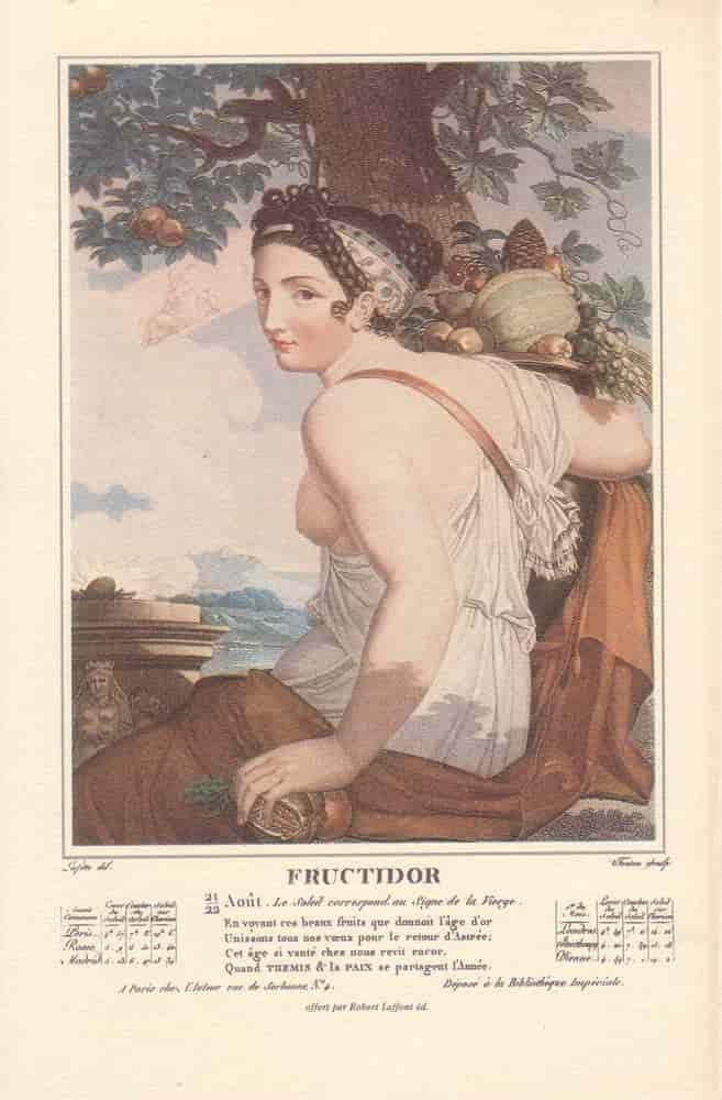 Fructidor, mois du calendrier républicain ou révolutionnaire. Gravure de Salvatore Tresca, dessin de Louis Lafitte, 1797-1798.