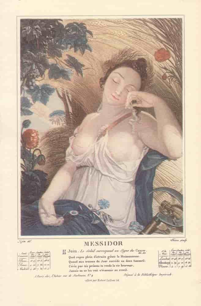 Messidor, mois du calendrier républicain ou révolutionnaire. Gravure de Salvatore Tresca, dessin de Louis Lafitte, 1797-1798.