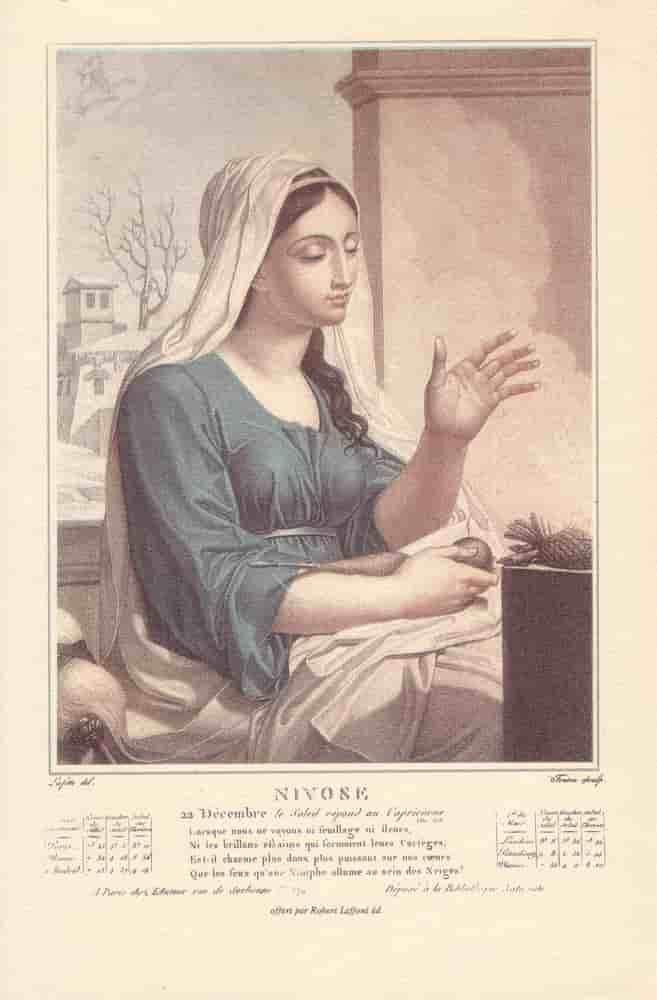 Nivôse, , mois du calendrier républicain ou révolutionnaire. Gravure de Salvatore Tresca, dessin de Louis Lafitte, 1797-1798.