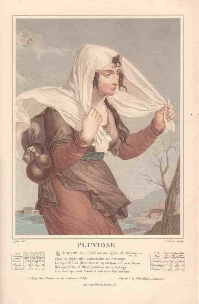 Pluviôse, mois du calendrier républicain ou révolutionnaire. Gravure de Salvatore Tresca, dessin de Louis Lafitte, 1797-1798.