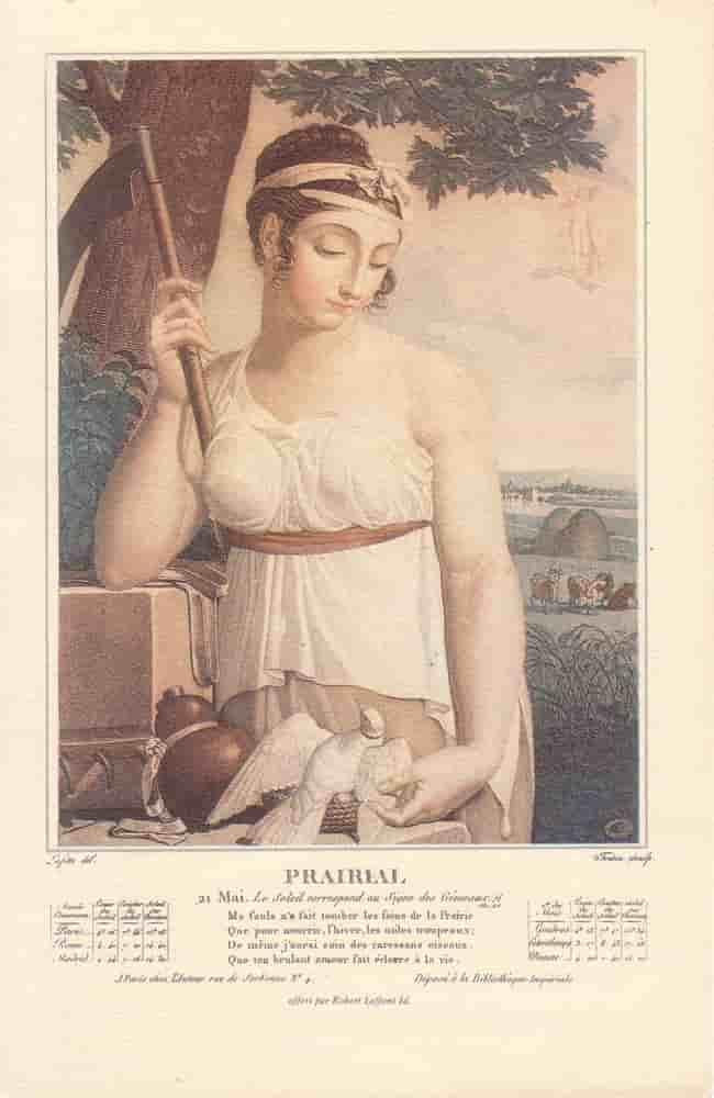 Prairal, , mois du calendrier républicain ou révolutionnaire. Gravure de Salvatore Tresca, dessin de Louis Lafitte, 1797-1798.