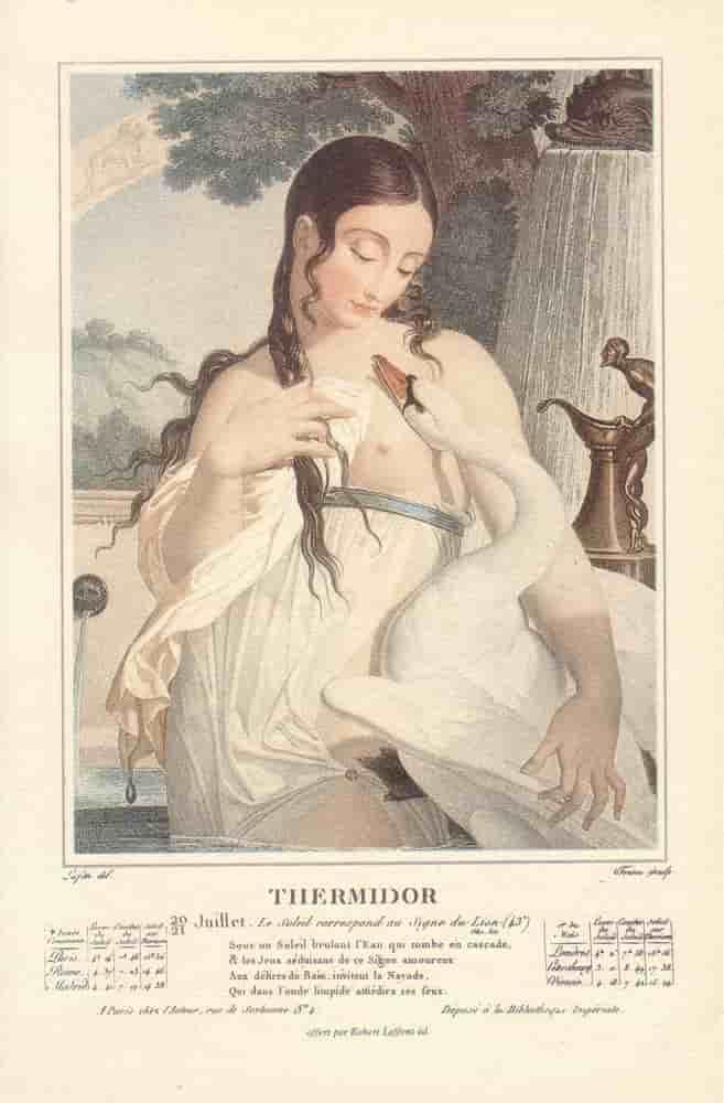 Thermidor, mois du calendrier républicain ou révolutionnaire. Gravure de Salvatore Tresca, dessin de Louis Lafitte, 1797-1798.